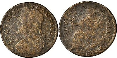 1787 Connecticut Copper, Miller 33,44-W.3, RARITY-6 VARIETY, Fine, NO RESERVE