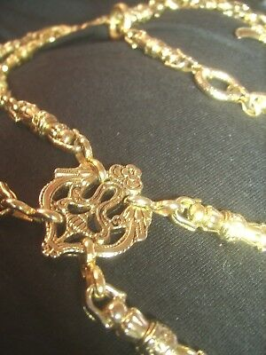 Vtg Estate The Limited Made In Italy Gold Textured Metal Chain  Floral Belt M/l!