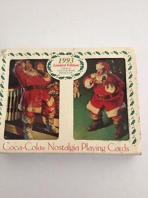 Vintage Coca Cola 1993 Limited Edition 2 Decks Of Nostalgia Playing Cards In Tin