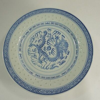 """6 Vintage Chinese Rice Grain Eye 5-Claw Dragon Plate 10"""" D"""