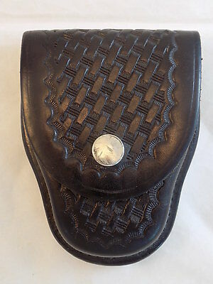 BIANCHI #35 THICK BLACK LEATHER Basketweave HANDCUFF CASE HOLSTER