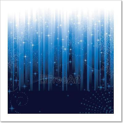 Stars And Snowflakes On Blue Striped Art Print Home Decor Wall Art Poster - G