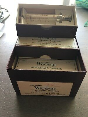Vintage Unused New Old Stock Wocher's 2cc glass hypodermic syringe only.