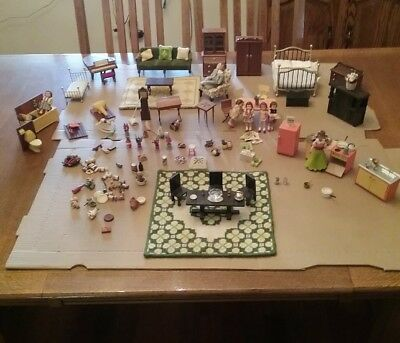 Wow! HUGE Lot of Vintage/Antique Doll House Furniture + Accessories + so much!