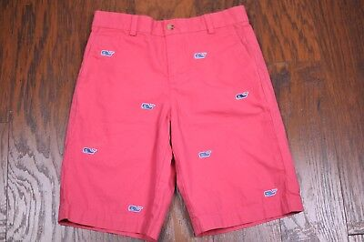 Vineyard Vines Whale Embroidered Flat Front Shorts Pink Boy's 12