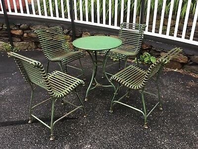 1930's Antique French Patio/Garden Wrought Iron Furniture Set Table Chairs