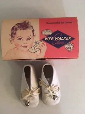 Baby Wee Walker Shoes with Original Box, Leather, White HIgh Vintage Baby Shoes