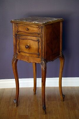 Antique French Wood Side Table/cabinet - Louis Xv -  With Marble Top/inside