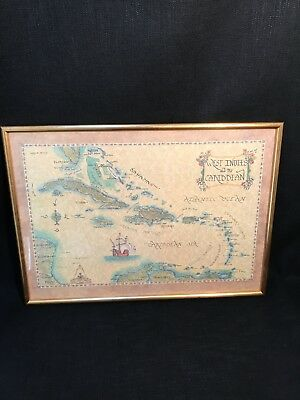 1981 Xandra Fisher Framed Print Map Of West Indies & The Caribbean