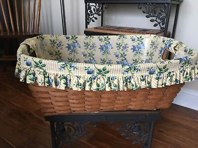 Longaberger 1988 Small LAUNDRY Basket, Protector & Floral LINER