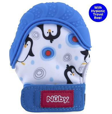 Nuby  Soothing Teething Mitten with Hygienic Travel Bag, Blue Penguins 1 ...