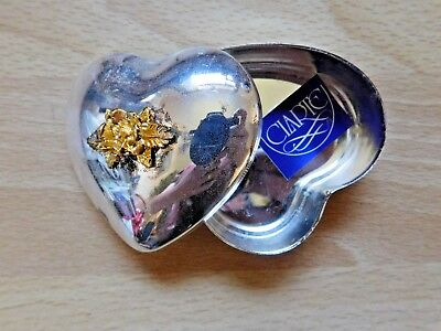 Vintage Silver Plated Heart Shaped Jewellery/Trinket Box by 'Claret' - Unused