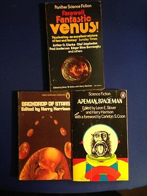 3 Sci Fi  Anthologies edited by Harry Harison with others