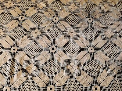 Antique Vintage Crochet bedspread tablecloth linen