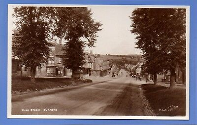 Old Vintage Rp Postcard High Street Burford Oxfordshire Cars Trees