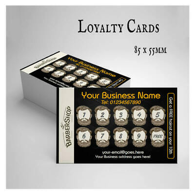 100 250 500 Gloss 250g Single Sided Loyalty Cards FREE Design FREE Shipping