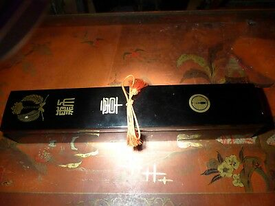 Very Rare Superb Large Japanese Military Presentation Lacquered Box Samurai Mon