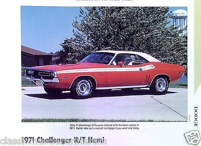 1971 Dodge Challenger R/T Hemi 426 ci or 440 6 Pack Info/Specs/photo/price 11x8