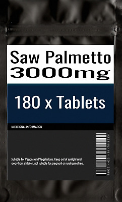 180 x Saw Palmetto 3000mg tablets Prostate & Urinary Health For Men   High Poten
