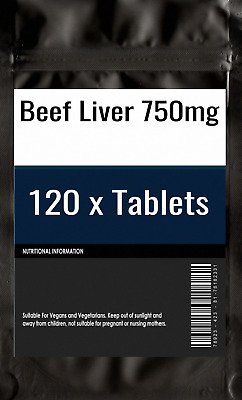 120 x Beef Liver 750mg Tablets | Skeletal Muscle Growth | Arachidonic acid