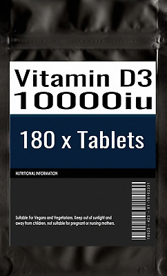 180 x Vitamin D3 10000iu High Strength Tablets