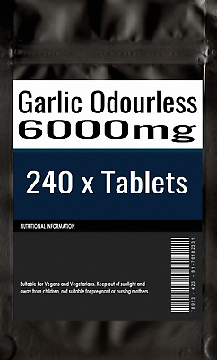 240 x Super Strength Garlic 6000mg Tablets - Odourless oil Tablets