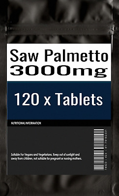 120 x Saw Palmetto 3000mg - Hair Loss Prostate Urinary Tract Tablets