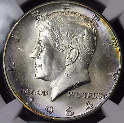 1964 D Kennedy Silver Half Dollar NGC MS64 Uncirculated Purple Toning