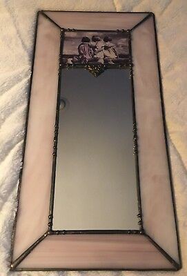 Sweet Stained Glass Pinks Accent Mirror with  3 young girls..Hand Crafted!