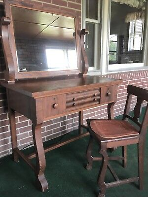 Vintage American Empire Style Vanity with attached Swing Beveled Mirror & Chair