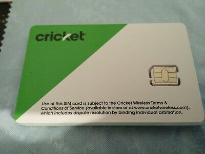 CRICKET WIRELESS NANO 4FF SIM Card - GSM 4G LTE 3G - NEW - AT&T NETWORK MVNO