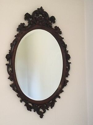 Large Edwardian styled, solid carved wooden bevelled oval mirror 1120 mm x 690mm