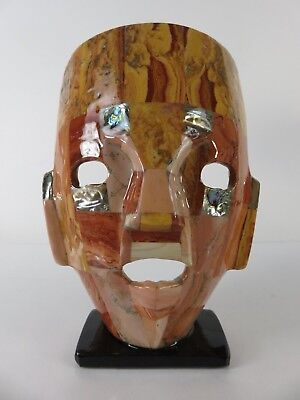 Hand Made Mosaic Agate Shell Aztec Mask Sculpture