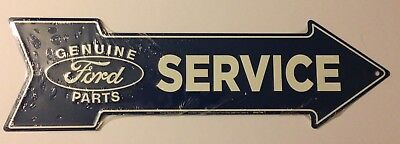 Genuine Ford Parts Service Embossed Metal Arrow Sign Man Cave Sportsroom Ford