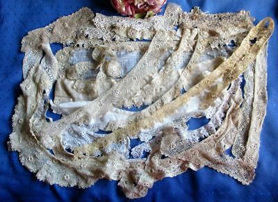 Large Antique Lot Of Hand Made Irish Crochet Lace~Collars~Cuffs~Pieces