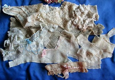 Large Antique Lot Of 12 Hand Made Crochet Lace Yokes~Tops~Cuffs~Ribbon