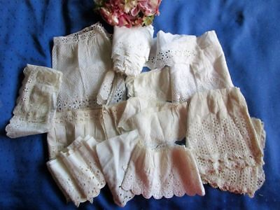 Large Antique/vintage Lot Broderie Anglaise/eyelet/embroidered/slotted Lace Trim
