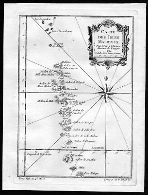 1750 Malediven Maldives Islands Insel map Karte Kupferstich engraving Bellin