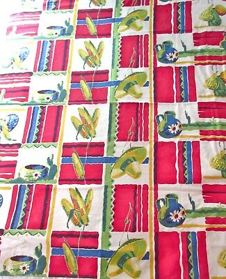 "Vintage Table Cloth - Mexican/Southwestern Theme - Cotton - 64"" by 53"""