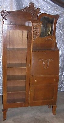 Vintage Victorian Oak Wood Secretary Desk and Bookcase