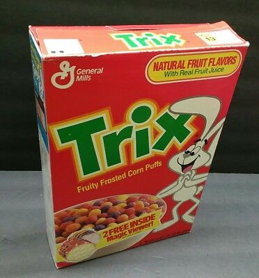 Vintage 1989 General Mills Trix Cereal Box UNCLE HARRY'S MAGIC VIEWER!