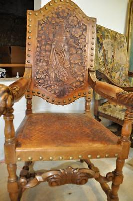 Early 18th Century Spanish Baroque Brass Studded and Tooled Leather Chair