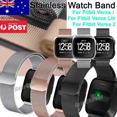 Stainless Metal Milanese Magnetic Loop Band Wristband Strap For FitBit Versa Lit