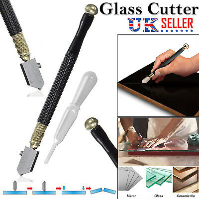 HIGH QUALITY DIAMOND TIPPED GLASS CUTTER + CASE Mirror Cutting-Score-Slice-Cut