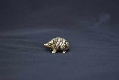 China Old Collectibles Pure brass lovely hedgehog mini statue