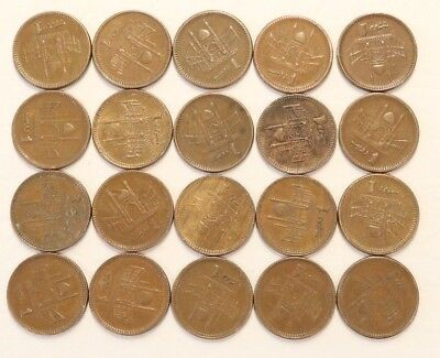 1 Rupee Pakistan 1998-2006 Coin Lot Of 20 Foreign World Combined Shipping D95