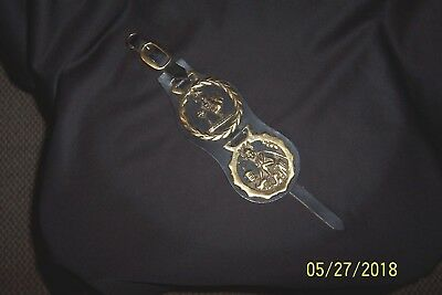 2 Vintage BRASS Horse Harness MEDALLIONS Mounted on Black Leather Strap