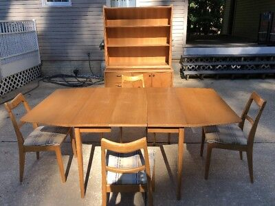 Drexel Dining Set Mid Century Modern Table Chairs Buffet Hutch Leaf Padding