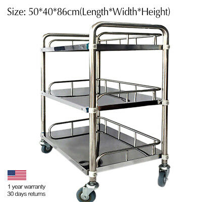 Medical Clinic Dental Lab Cart Serving Trolley Shelf 3 Layer Stainless Steel PGS