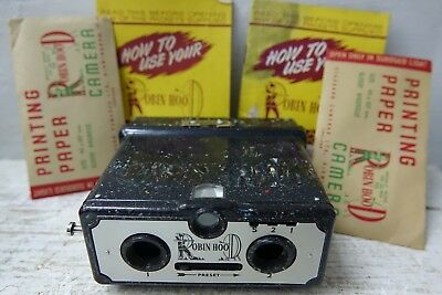 Interesting Old Stereo Camera - Robin Hood Coloured Bakelite - Plus Papers Rare